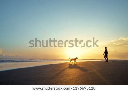 Silhoette of woman playing with dog on sand beach. #1196695120