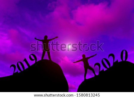silhouette Aerobic dance exercise.Concept new year's eve welcome New Year celebration 2020.