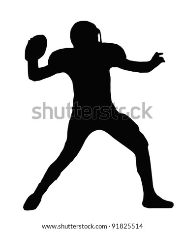 Silhouette American Football Quarterback Aiming to Throw Ball