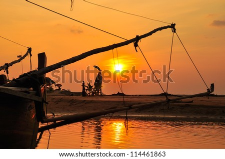 silhouette and sunset , Thailand