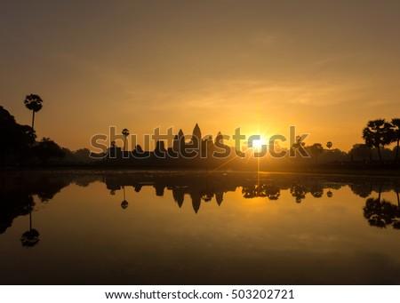 Silhouette Angkor Wat at sunset , Siem Reap , Cambodia