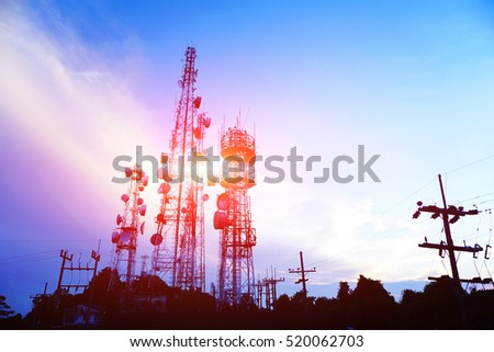 silhouette antennas on sunset time and sky on sunset time background. #520062703