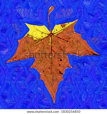 Silhouette autumn maple leaf in the style of Oil painting Fauvism
