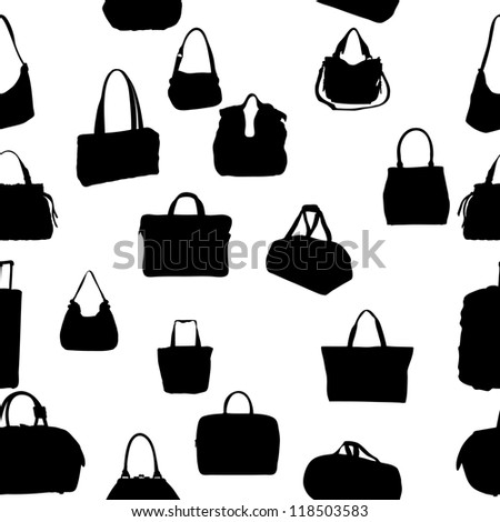 silhouette bag seamless pattern. Raster Version.
