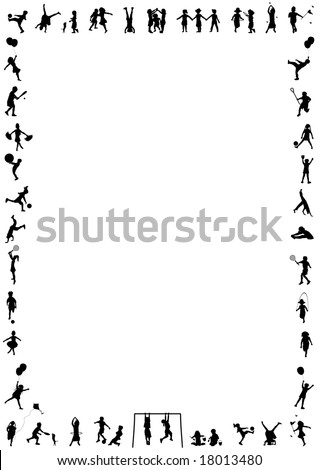 silhouette border of young children playing various activities - stock photo
