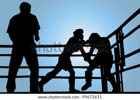 Silhouette boxing fight