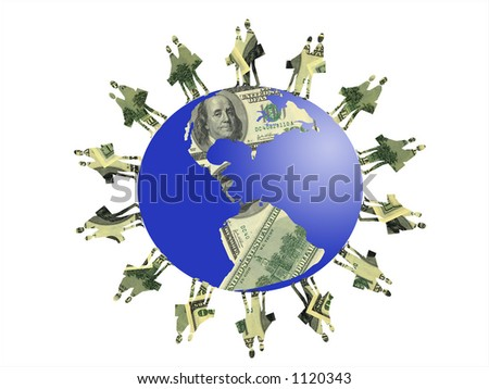 Silhouette  business people of dollars money around planet earth of dollars