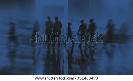 Silhouette Business People Traveling Cityscape Commuter Concept #331483493