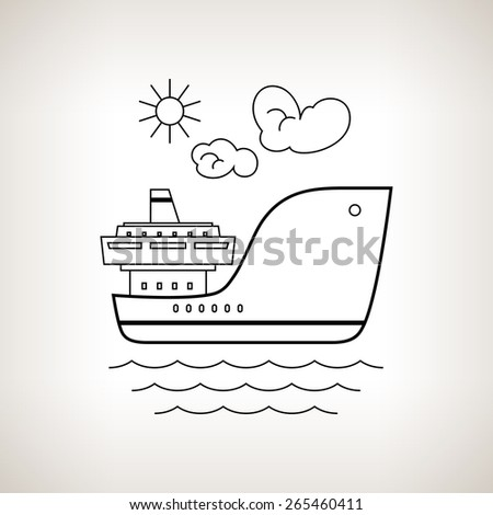 Silhouette cargo ship, dry cargo ship on a light background, black and white illustration