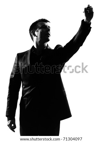 silhouette caucasian business man  expressing behavior full length on studio isolated white background