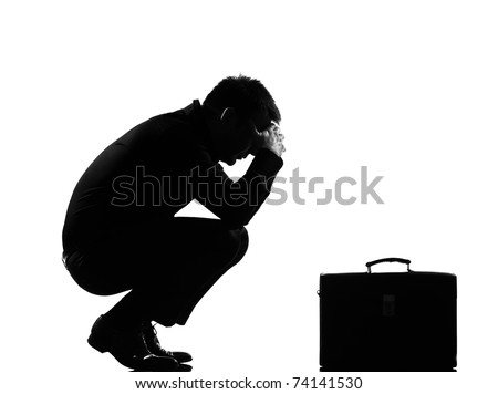silhouette caucasian business man  expressing fatigue despair tired behavior briefcase  full length on studio isolated white background