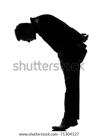 silhouette caucasian business man   man  tip toe looking down expressing behavior full length on studio isolated white background