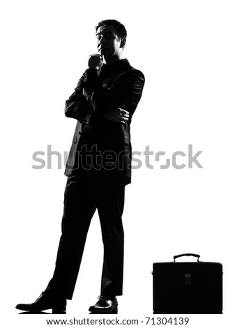 silhouette caucasian business man thinking pensive behavior full length on studio isolated white background