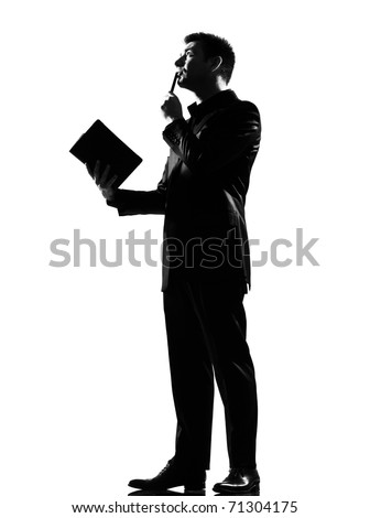silhouette caucasian business man with note pad thinking expressing behavior full length on studio isolated white background