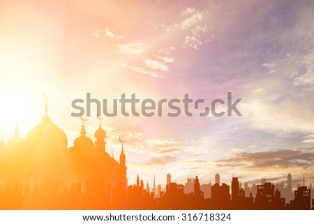 Silhouette Church of Islam and the city , religion concept
