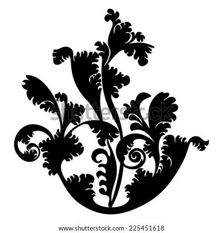 silhouette design plant ornament