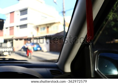 Silhouette edge Bokeh on the road in the morning. In Thailand.Abstract blurred background : Traffic jam in the morning rush hour. in-Thailand.. #362972579