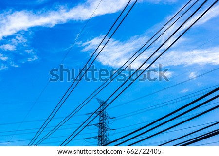 Silhouette electric pole  with  blue sky and clouds  #662722405