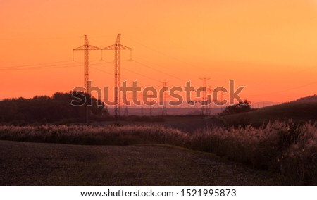 Silhouette electricity pole, electricity pylons technology on su