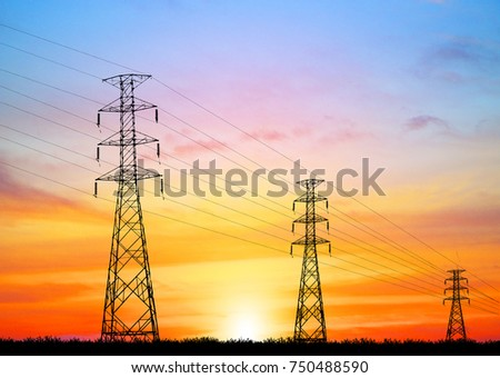 silhouette electricity pole, electricity pylons technology on sunset time background