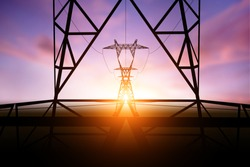 silhouette electricity post on sunset background