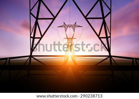 silhouette electricity post on
