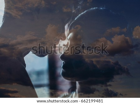 Silhouette. Falling in love. Romanticism. Kiss. #662199481