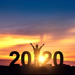 Silhouette freedom young businesswoman Enjoying on the hill and 2020 years while celebrating new year, copy space.