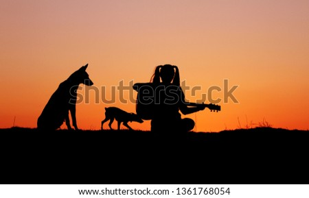 Silhouette girl guitarist on a sunset background, silhouettes of dogs of breed Belgian Shepherd Malinois and miniature pinscher, happy friends, outdoor