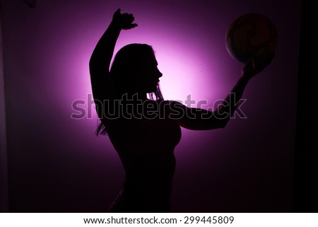 Silhouette girls with volleyball. #299445809