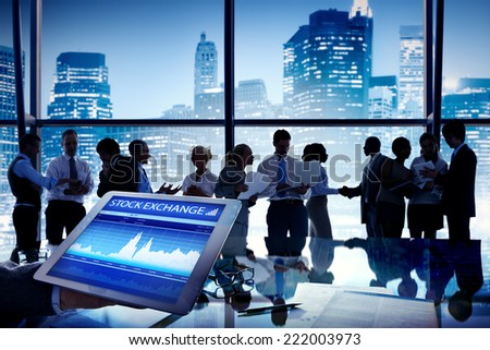 Silhouette Group of Business People Discussion Stock Exchange