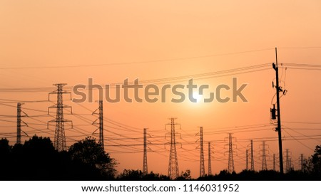 silhouette high voltage pole on sky sunset background. #1146031952