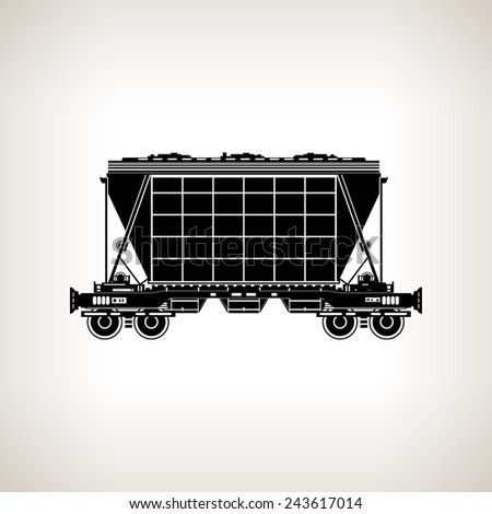 Silhouette hopper car for mass transit fertilizer, cement, grain and other bulk cargo on a light background, black and white  illustration
