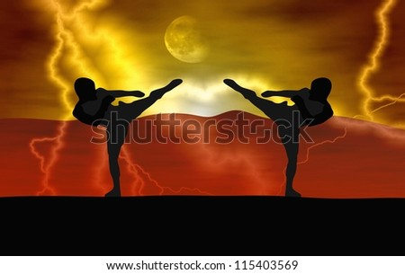 Silhouette illustration - Martial art - stock photo