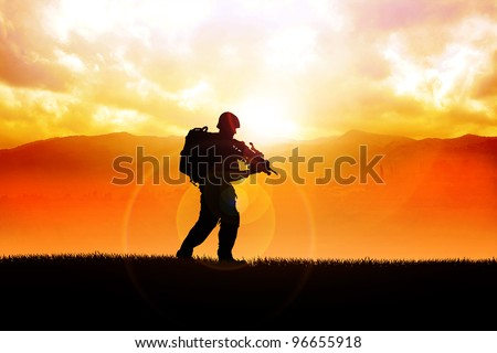 Silhouette illustration of a soldier on the field