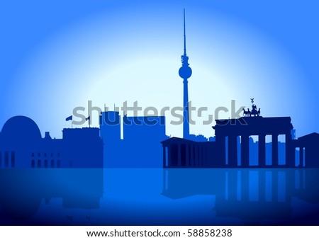 Silhouette illustration of Berlin skyline