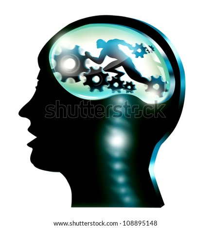 Silhouette illustration of head of man with gears isolated in white background.  General Medical, Science and Career Concept.
