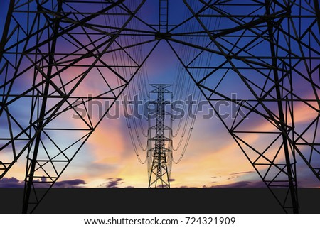 Silhouette image. High voltage tower and Colorful sky. This has clipping path for structure.