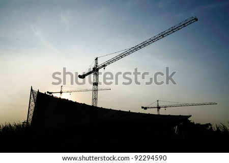 silhouette image of under construction site in Thailand