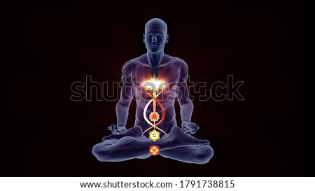 Silhouette in an enlightened Yoga meditation pose with four highlighted Hindu Chakras. Photo stock ©