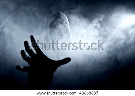 silhouette in smoke