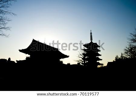 silhouette japanese temple,Sensoji Temple
