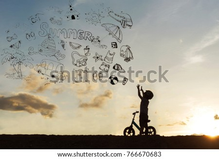 silhouette kids on bikes at sunset with Hand drawn doodle summer icons set #766670683