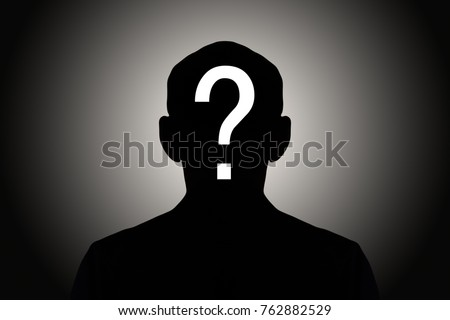 silhouette male on gradient background with white question mark #762882529