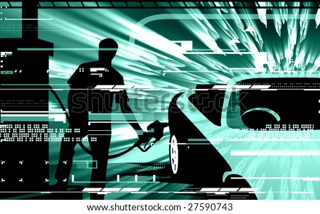 Silhouette man refuelling fuel to a sports car in a fuelling station
