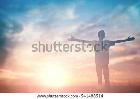 Silhouette man with hands rise up on beautiful view. Christian praise on hill thanksgiving day background. Now one man standing on peak open arms enjoying nature the sun concept world wisdom fun hope #541488514