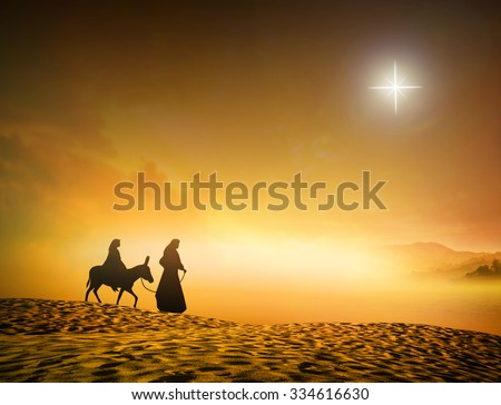 Silhouette Mary Joseph journey through the desert with a donkey on golden sunset looking for a place to stay on Christmas Eve. Nativity scene story, Merry Christmas Card background, Baby Jesus concept