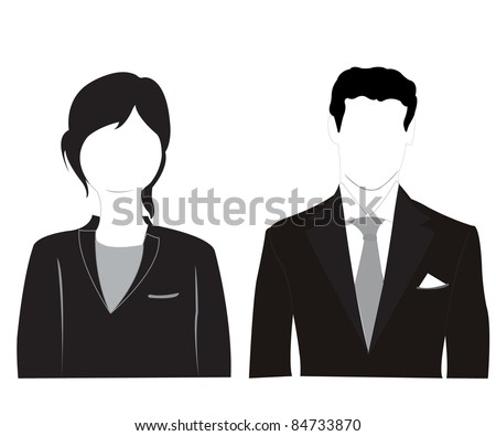 Silhouette men and women on white background