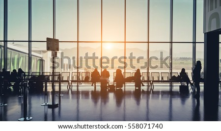 Silhouette of a airport at sunset