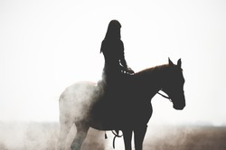 Silhouette of a beautiful girl riding a horse on a white background. Man and horse in thick smoke or fog.Brave girl leads an active lifestyle
